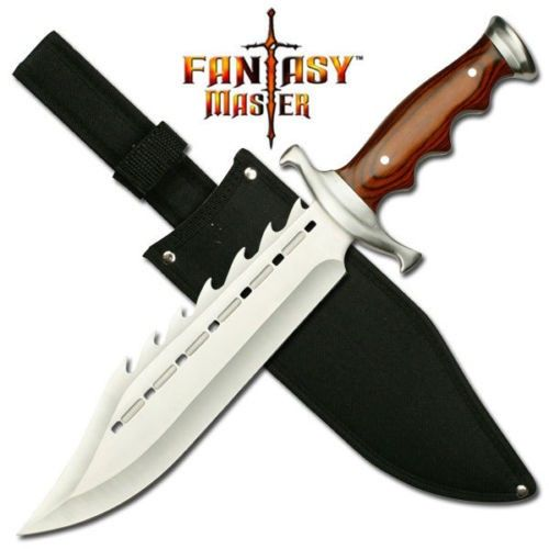 KNIFE HUNTING GATOR BACK Full Tang 38CM 440 STEEL Blade WoodGrain Finish Handle