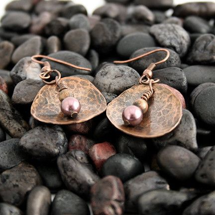 Hammered Copper Earrings With Purple Swarovski Pearls | Pretty Patina