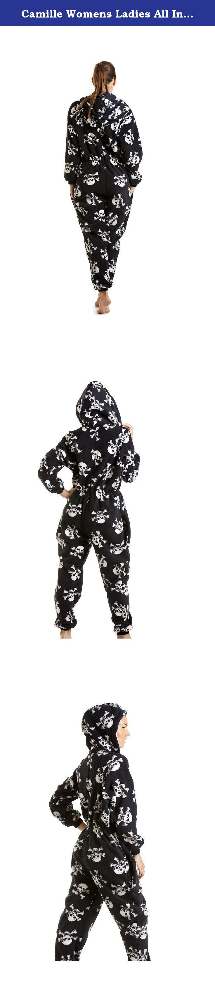Camille Womens Ladies All In One Black And White Skull Print Hooded Fleece PJs 18/20 BLACK. This Funky Black And White Skull Print Luxury All In One Consists Of Full Length Sleeves With A Zip Up Front, This Onesie Also Has A Hood And Two Pockets And Is Footless. This Onesie Is The Height Of Comfort For Evening And Bedtime! 6/8- Inside Leg: 29 inches, Shoulder to ankle: 61 inches, Chest: 48 inches, Waist: 42 inches, Inside Arm: 19 inches. 10/12- Inside Leg: 29 inches, Shoulder to ankle: 62...