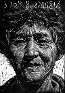 Título: La gente de la aldea Daiseok. Autor: Won- Chul Jung. Korea. Técnica: grabado en linóleo. Medidas: 100 cm x 70 cm. Premio Superior de la Bienal Internacional de grabado de Seúl. Korea. 1994. Selección y archivo: bb