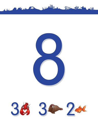 ChildUp Preschool Math Lesson (#45-B/48) - Teach your Child to Count to 10: 3 Lobsters + 3 Sea Lions + 2 Goldfish = 8 Animals. #Preschool #EarlyLearning #Parenting