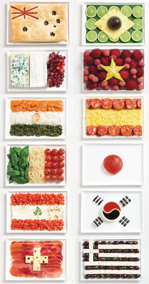 Different country flags made from food you would find there.