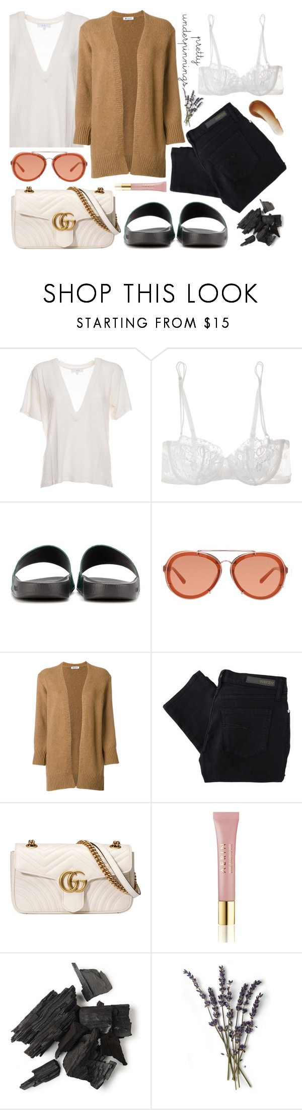 """""""Everyday, all day"""" by carolsposito ❤ liked on Polyvore featuring IRO, La Perla, Gucci, 3.1 Phillip Lim, Dondup, Nobody Denim, AERIN and This Works"""