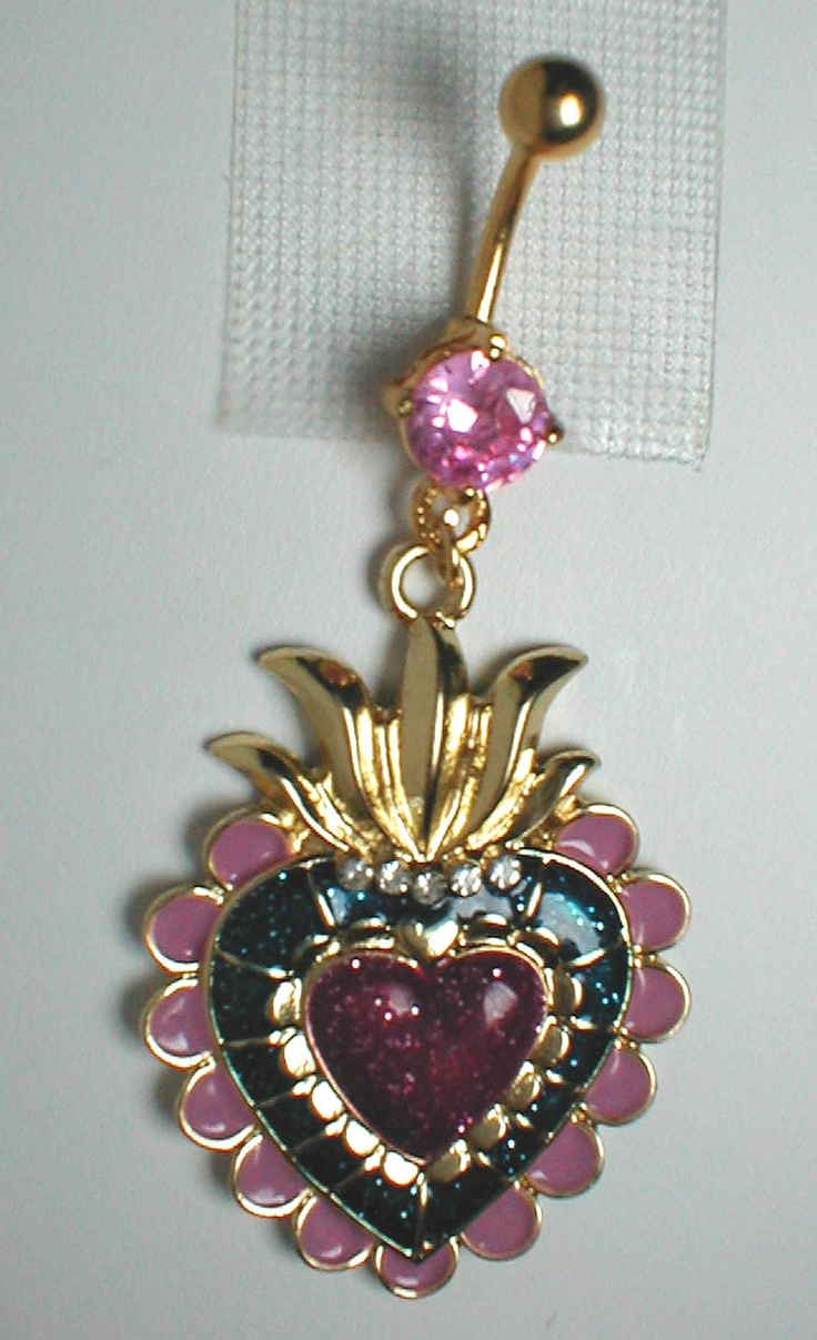 Unique Belly Ring - Ornate Heart Pendant On Belly Ring. $10.95, via Etsy.