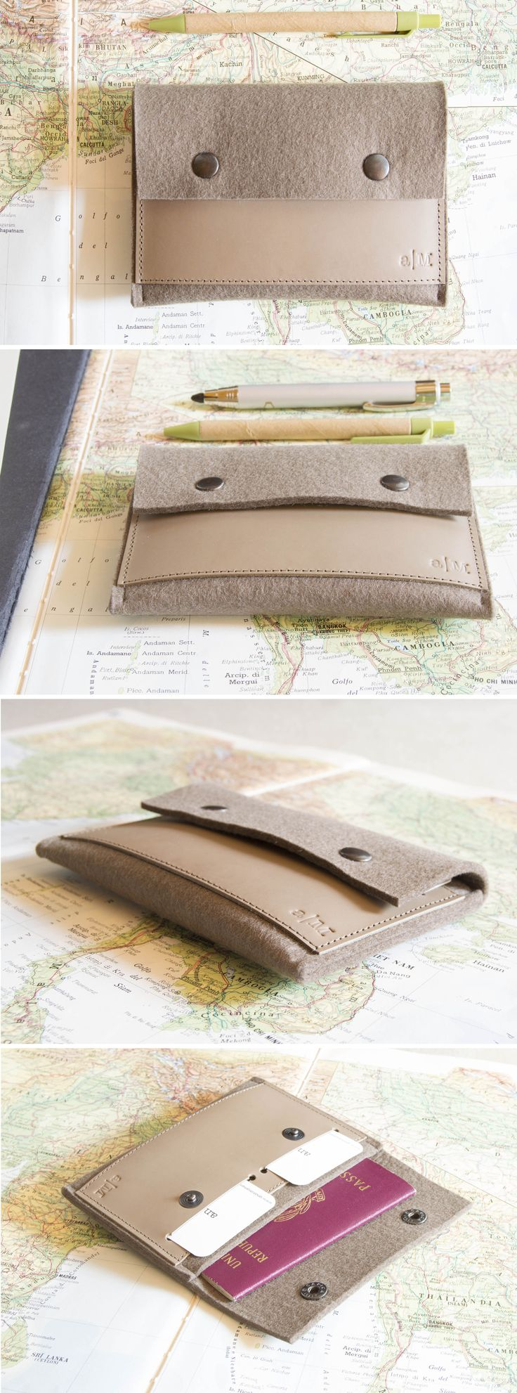 Taupe passport wallet made of 100% wool felt and vegetable tanned leather #felt #leather #passportwallet #passportcase #travelling #traveling #madeinitaly #woolfelt