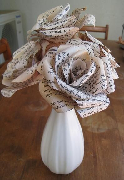 DIY Paper Flowers using an old book