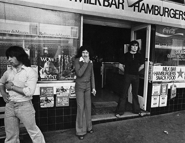 Yugoslav youths outside a Port Kembla Milk Bar, New South Wales, 1978.  Sourced from: I'll Take Australia, published 1978, by George Lindstrom and David Martin.