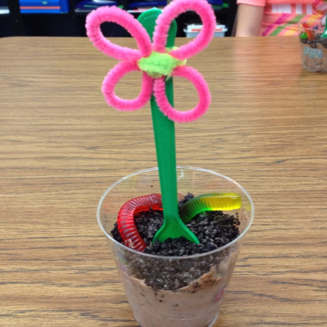 So much easier/neater than cupcakes: school birthday treats - dirt cup (chocolate pudding, Cool Whip, crushed Oreos), gummy worms, and a flower spoon  Each flower will need 3 pipe cleaners, I didn't purchase enough and had to run back to the store.  The kids loved them and they were sooo good!