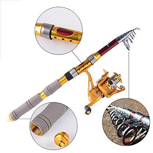 Balight Fishing Rod PortableTravel Carbon Telescopic Fishing Rod and Reel Combo Kits Golden 21m688ftAF2000 ** More info could be found at the image url.