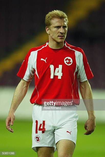 Stephane Grichting of Switzerland in action during the Friendly International match between Switzerland and Slovenia at The Stade de Geneve on April...