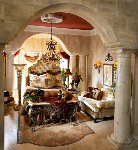 That's Haute interior design.  Love it!!! I love the red ceiling. This is so beautiful!