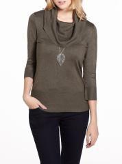 3/4 Sleeve Cowl Neck Sweater