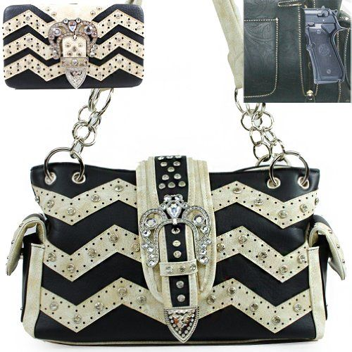 Click Here and Buy it on Amazon.com Price:$56.99  C&S Western Concealed Carry / Concealed Weapon / Gun Pocket Bling Bling Rhinestone Gemstone Studded Tiara Buckle Turn Over Top Laser Cut Zig Zag Detailed Side Pocket Tote Satchel Shoulder Handbag Purse with Wallet