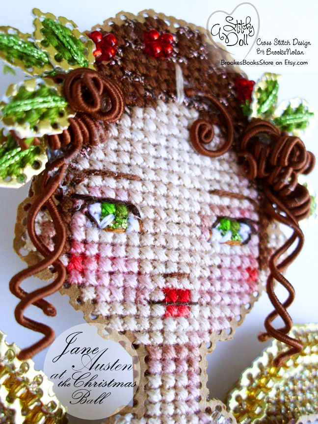 Jane Austen Christmas Ball Edition - A Brooke's Books Stitchy Doll by Brooke Nolan - Cross Stitch chart-only and accessory pack available in BrookesBooksStore on Etsy.com. Thank you for taking a peek.