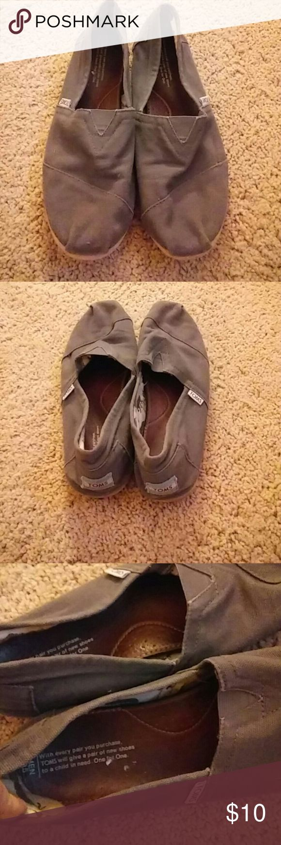 Mens Gray Toms Nice Toms for men. Gray flats with animals print inside. Sole in okay condition no holes just have been worn a few times. TOMS Shoes Loafers & Slip-Ons