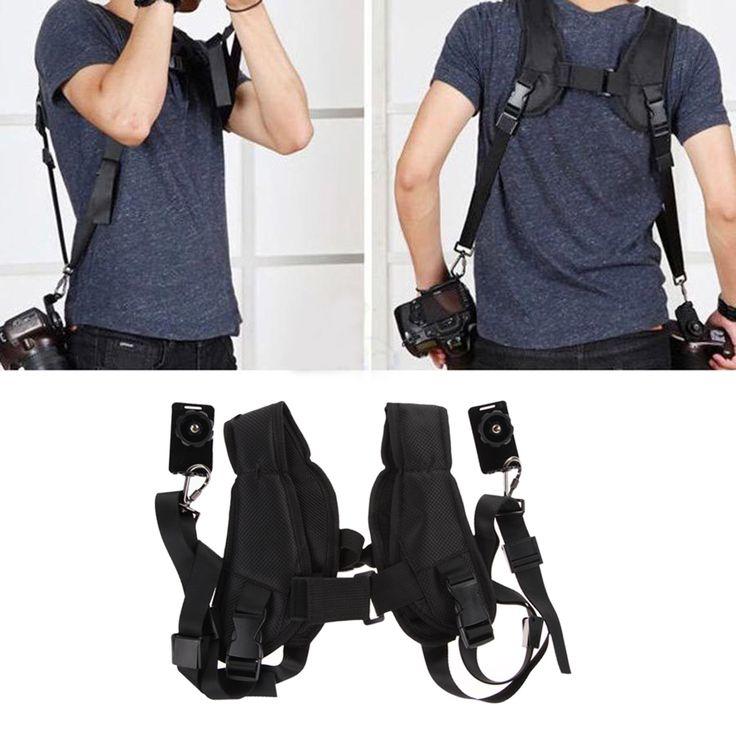 Быстрый Быстрое Двухместный Двойной Плеча Sling Пояс Ремень Для 2 Digital SLR DSLR Камеры