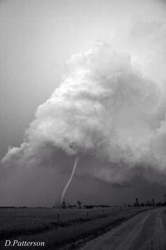 The perfect rope tornado!! EF2 near Alpena SD, in black and white!! 6-18-2014