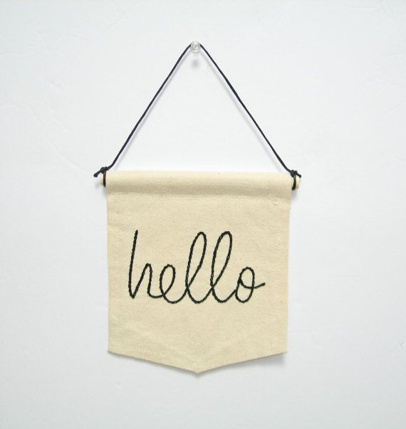 mini banner hand embroidery wall art hello home by ArtandAroma, $24.00