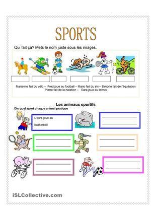 Les élèves lisent les sports que chaque enfant pratique et mettent les noms sous les images correspondantes.  - Fiches FLE