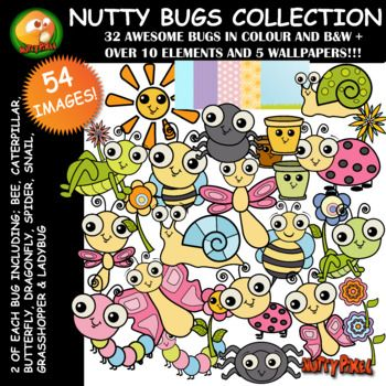 Introducing Nutty Pixel's Bug variety. This huge 54 piece set includes all your favourite bugs like, bees, butterflies, dragonflies, snails, spiders, ladybugs, grasshoppers, and caterpillars in colour and black & white. Not only that but also has 2 of each which mean double the variety!!
