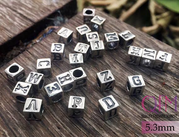 Sterling Silver Letter Bead Alphabet Bead Alphabet Charm