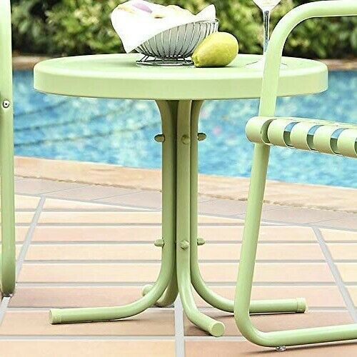Awe Inspiring Outdoor Side Table Green Garden Retro Style Metal Accent End Download Free Architecture Designs Viewormadebymaigaardcom