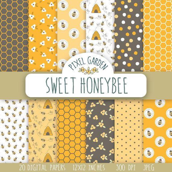 Instand download digital paper pack with sweet honey and bees themed designs. Patterns of honeycomb, florals, bees and beehives and polka dots
