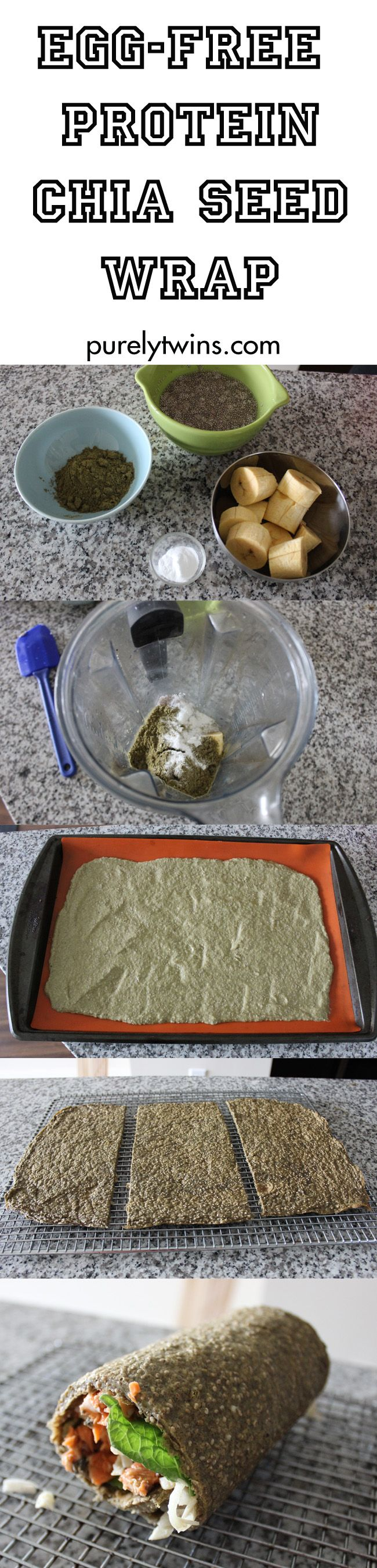 how to make egg-free wrap using chia seeds and hemp protein powder for a superfood wrap    purelytwins