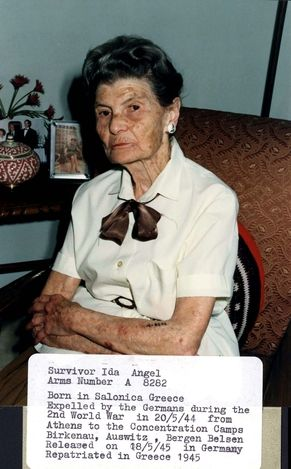 Greece, Ida Engel, a Holocaust survivor. Prisoner number: A-8282. Born in Salonica, Greece. Deported by the Germans from Athens to the camp on 20/05/1944. Was interned in Birkenau, Auschwitz, Bergen Belsen. Released on 18/05/1945 from Germany, and returned to Greece that year.