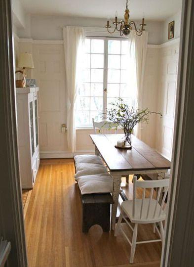 """farmhouse"" table in an apartment   ""farmhouse"" table for narrow or tight spaces."