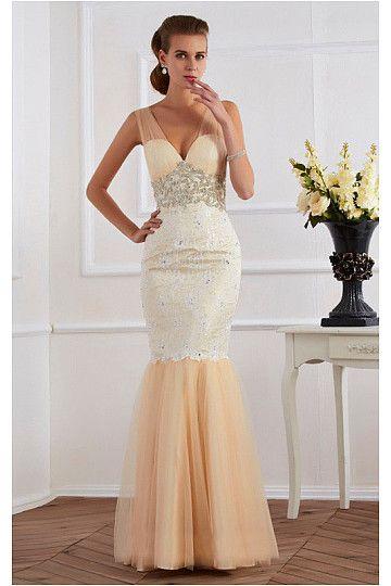 2016 Elegant V-neck Mermaid/Trumpet Floor-Length Champagne Evening Dresses