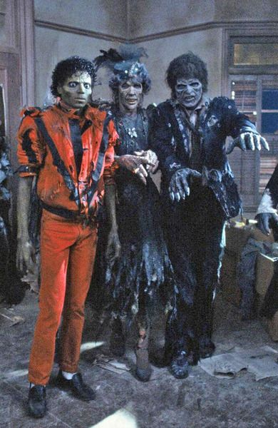 Michael Jackson with some zombies in Thriller circa 1982~1983.