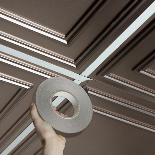 Tin Grid Tape is self-adhesive and designed to cover the T-bar drop ceiling grid…