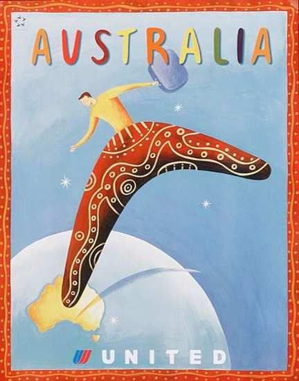 Australia United Airlines #vintage #travel #poster boomerang