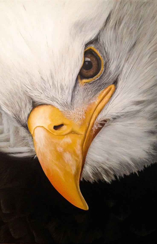 Bold Eagle, head. Acrylics on canvas. by Li-Soro.deviantart.com on @DeviantArt