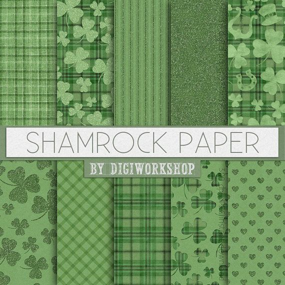 """#Green #Shamrock #Digital Paper - """"Shamrock Papers"""" instant download st…"""