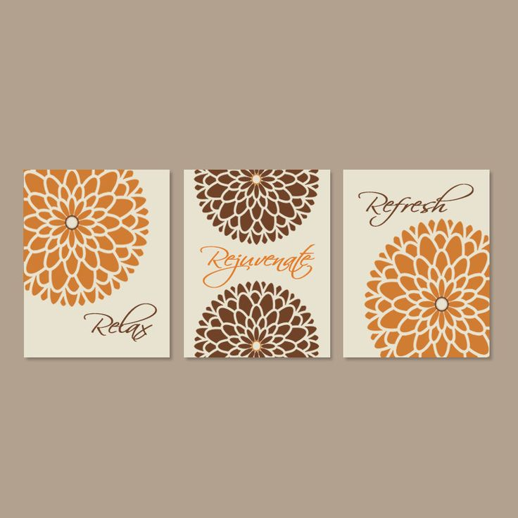 Modern Floral Flower Flourish Artwork Set of 3 Trio Prints Relax Rejuvenate Refresh Burnt Orange Wall Art Decor Bathroom Bath Home Picture by LovelyFaceDesigns on Etsy