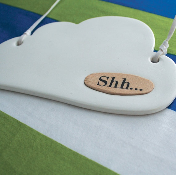 Cloud ceramic door hanger white with wooden message plate: by naneHandmade