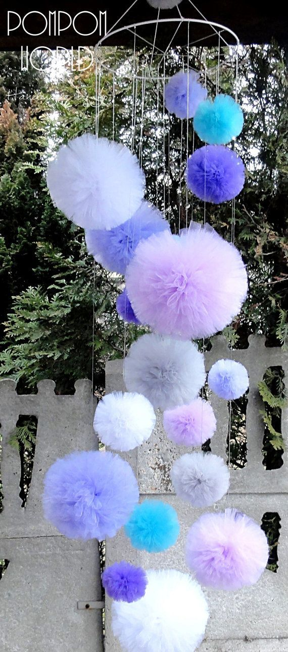 Pom Pom Mobile Huge Pom Pom Tulle Chandelier by PomPomMyWorld