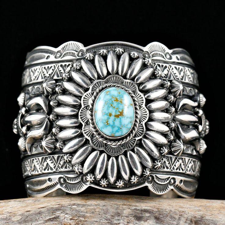 Cuff   Darryl Becenti (Navajo). 'Glory Hallelujah'.  Sterling silver and natural Birdseye Kingman Turquoise.