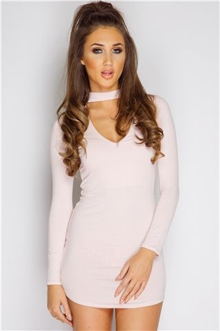 Megan McKenna Nude Choker Neck Dress at misspap.co.uk
