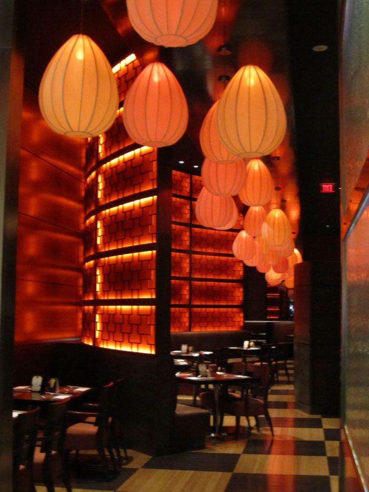 Uncluttered Asian Restaurant Interior Design in Modern Style: Perfect Asian Modern Pendant Lighting Decoration Ideas Restaurant Interior Des...
