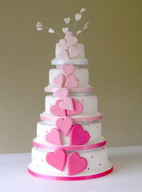 Pink Hearts Wedding Cakes
