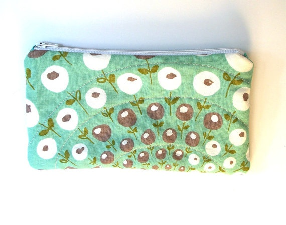 Aqua mint cosmetic zip pouch. Made of sustainable cotton, inside and out.