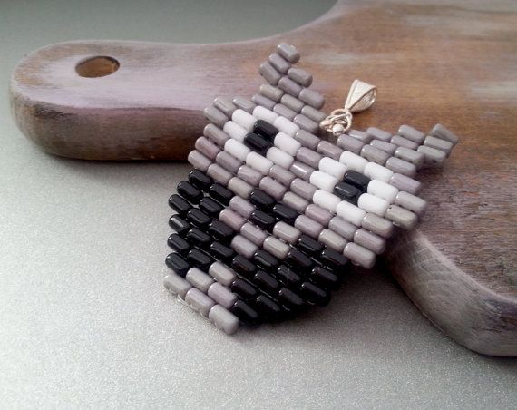 Grey black and white owl pendant beading gift idea original pendant