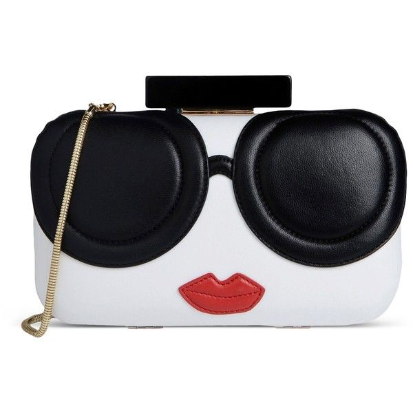 Alice+Olivia Clutch found on Polyvore featuring bags, handbags, clutches, purses, bolsas, white, white clutches, white leather handbags, leather purse and genuine leather purse