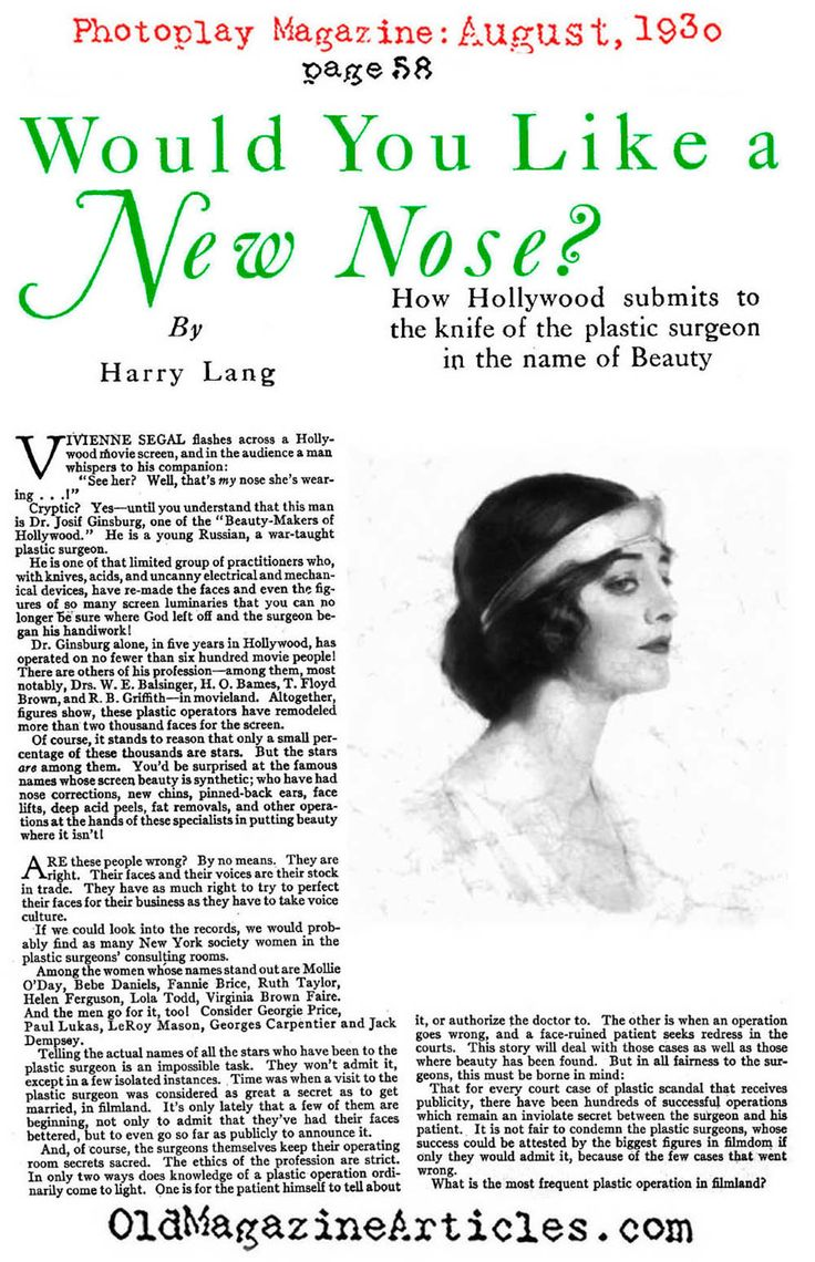 1930 Plastic Surgery Article about nose correction nel 2020