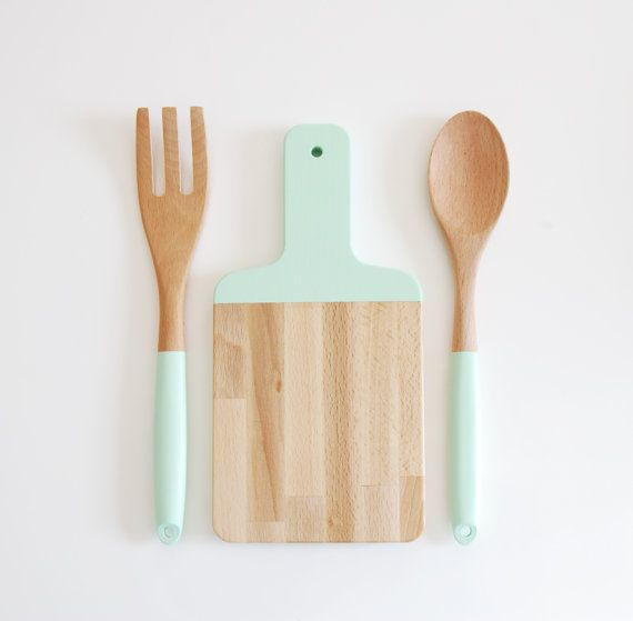 Mint Green Paddle Cutting Board and Kitchen Utensil Set | Host Gift | Wood Salad Serving Set | Wooden Cutting Board | Painted Wooden Spoon