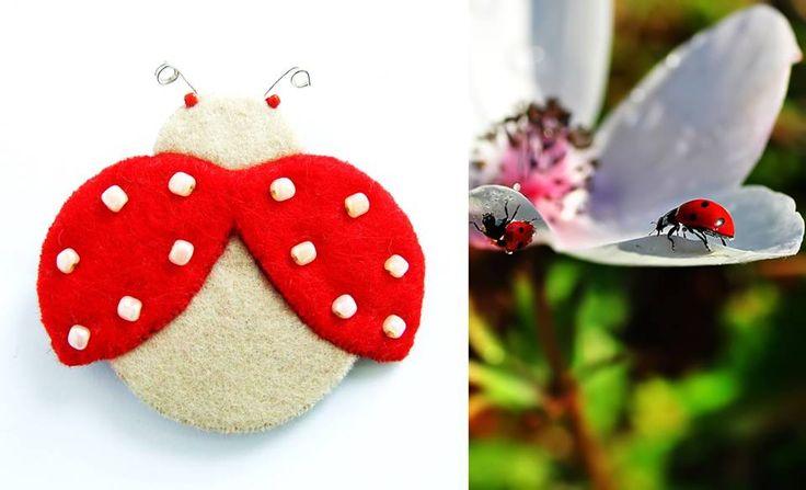 ladybug brooch felt