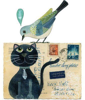 postcardVintage Postcards, Cat Art, Mailart, Art Blog, Art Journals, Illustration, Art Pictures, Geninne, Mail Art